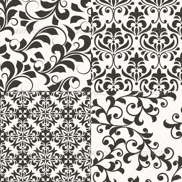 4 Seamless vector Floral Retro Patterns - Patterns Decorative
