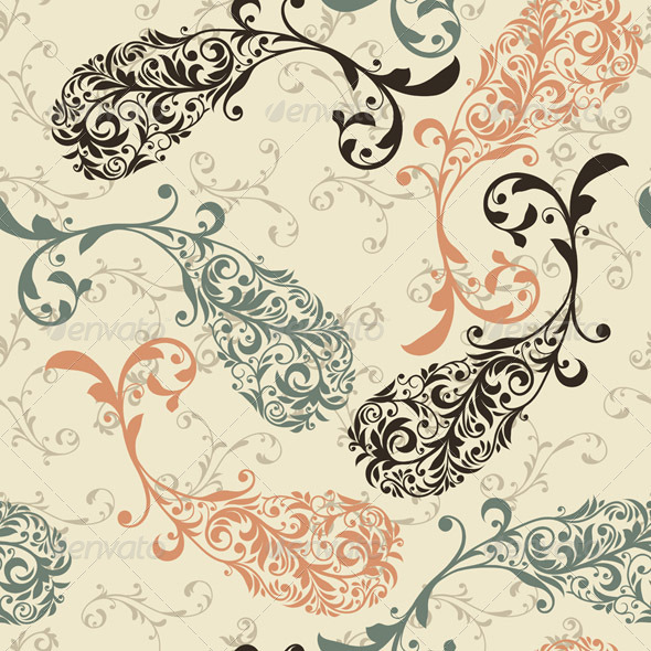 Vector Seamless Winter Pattern with Paisley Orname - Patterns Decorative