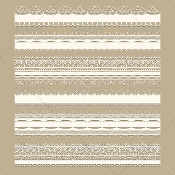 Vector Lacy Ribbons - Borders Decorative
