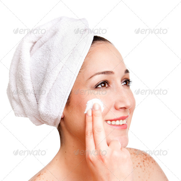 Facial skincare anti-ageing exfoliation - Stock Photo - Images