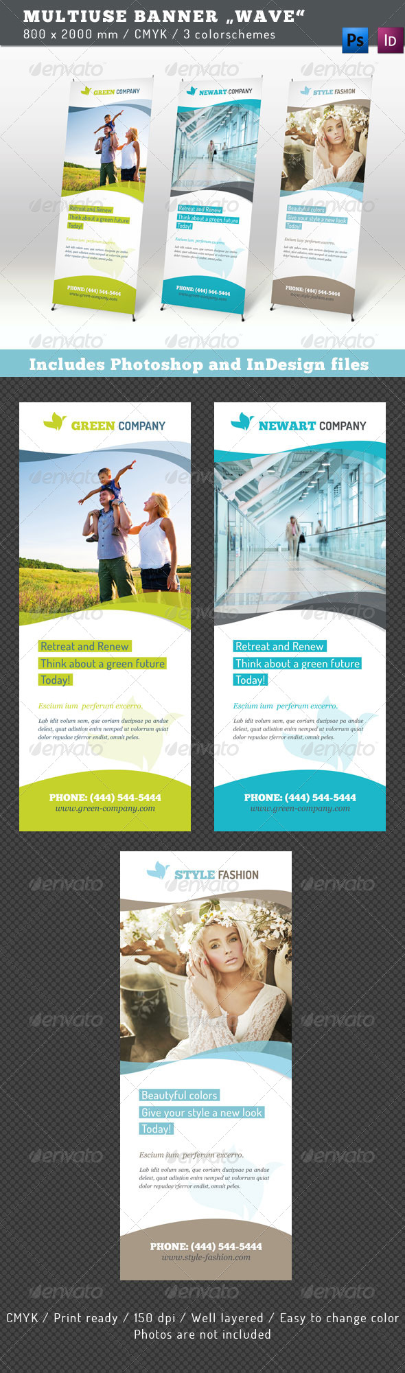 Multiuse Roll-up Banner Wave - Signage Print Templates