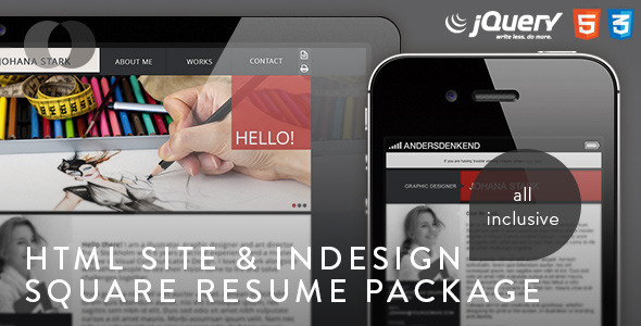 HTML Site - Square Resume Package