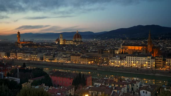 Florence, Italy. Panorama of the City Just After Sunset, Shot From Piazzale Michelangelo Square