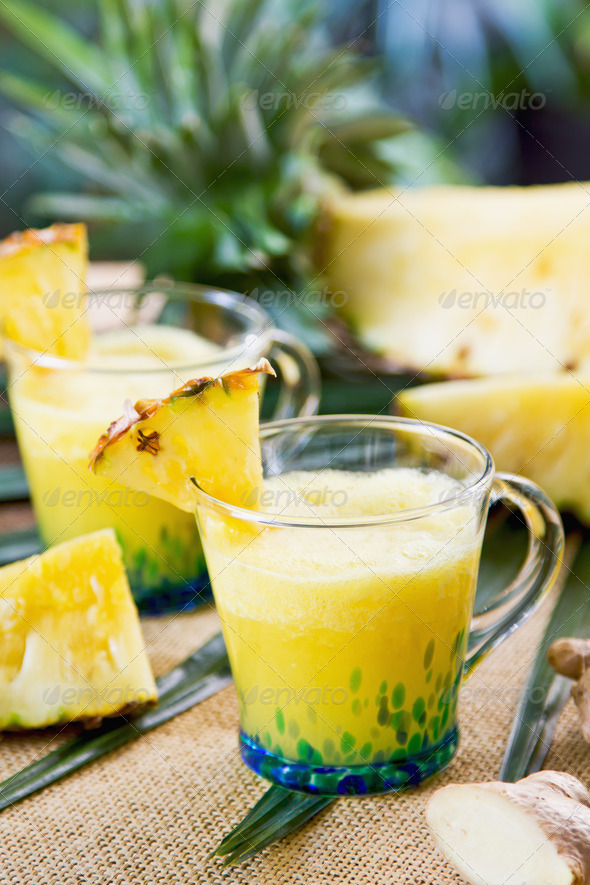 Pineapple with ginger juice - Stock Photo - Images