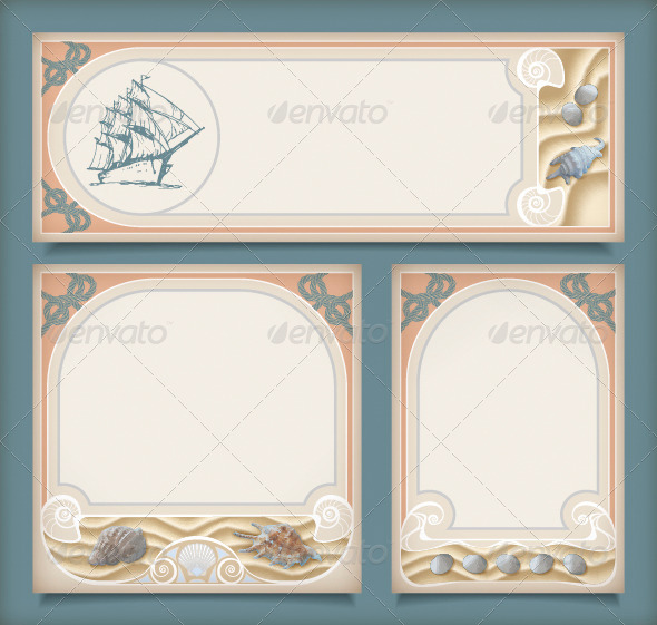 Set of Sea Vintage Vacation Frame Banners, Labels - Travel Conceptual