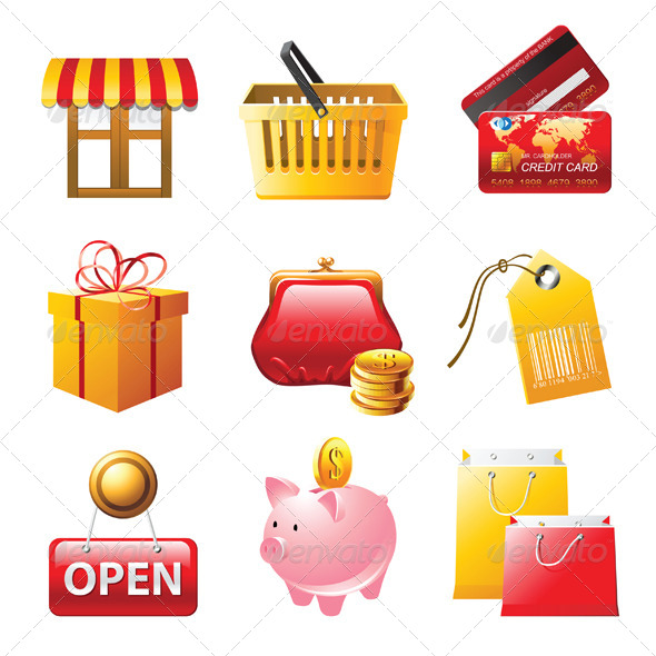 Shopping Icons Set - Objects Vectors