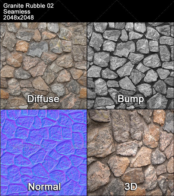 Granite Rubble Texture Tileable 02 - 3DOcean Item for Sale