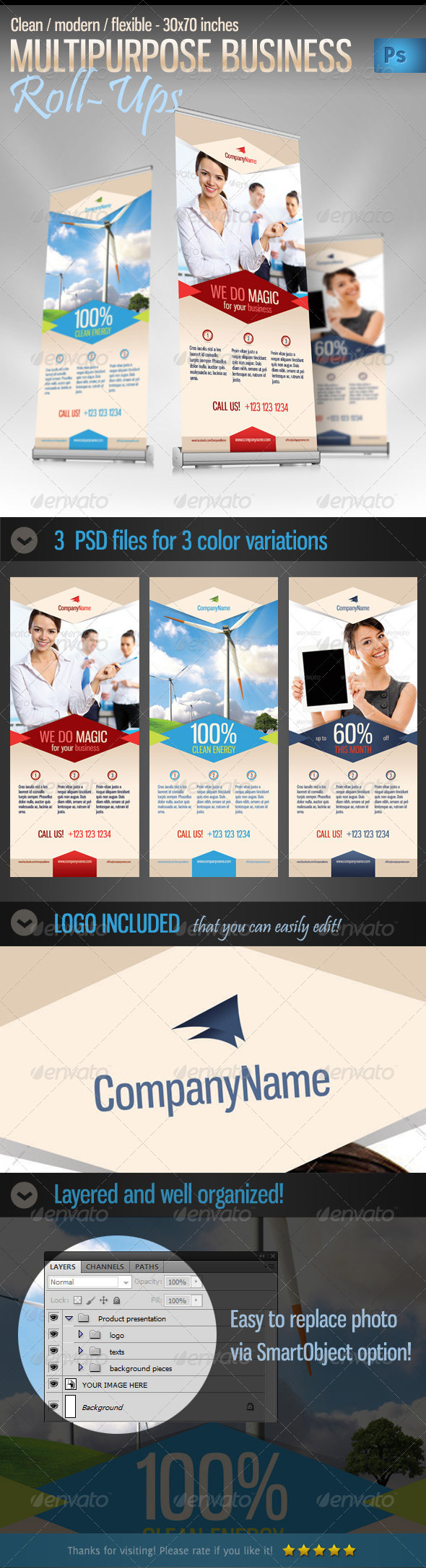 Multipurpose Business / Product Roll-up Banner - Signage Print Templates