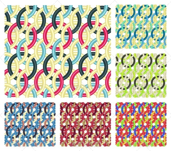 Entwined Rings. Seamless Patterns. - Patterns Decorative
