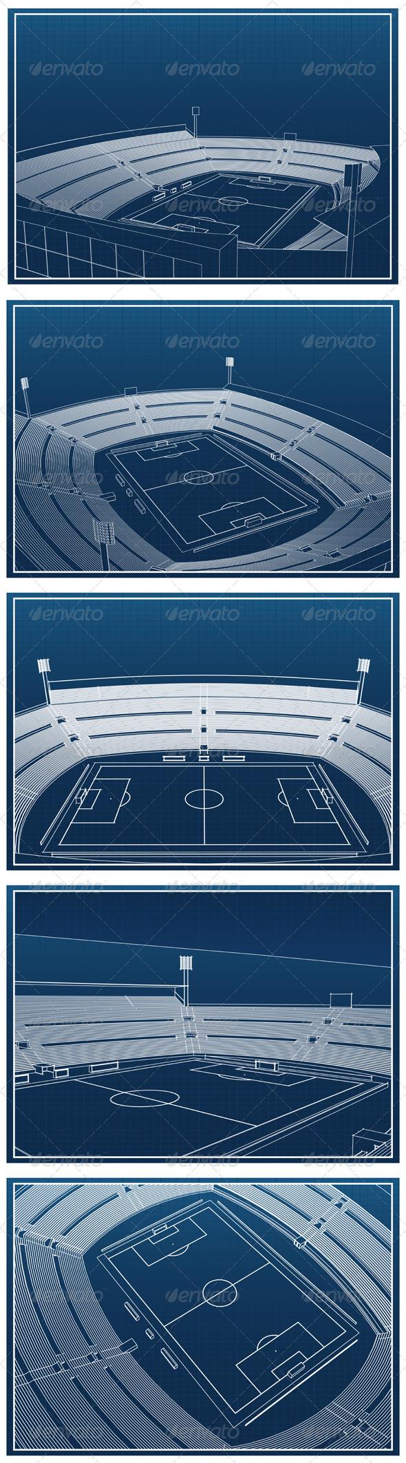 Soccer Stadium Blueprints - Buildings Objects
