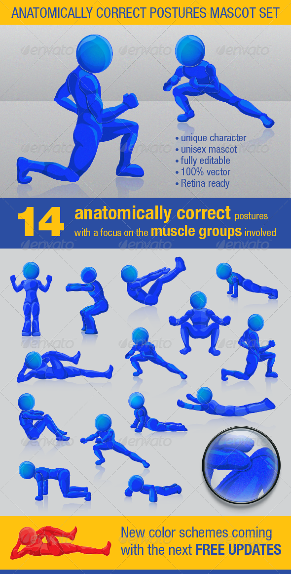 Anatomically Correct Postures Mascot Set - People Characters