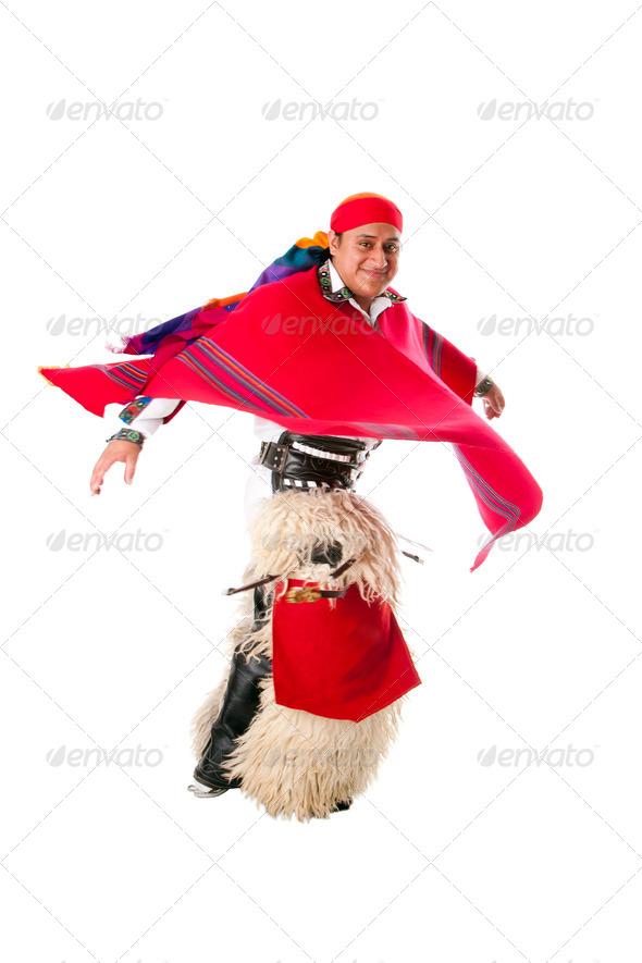 Happy dancing indiginous Latino man - Stock Photo - Images