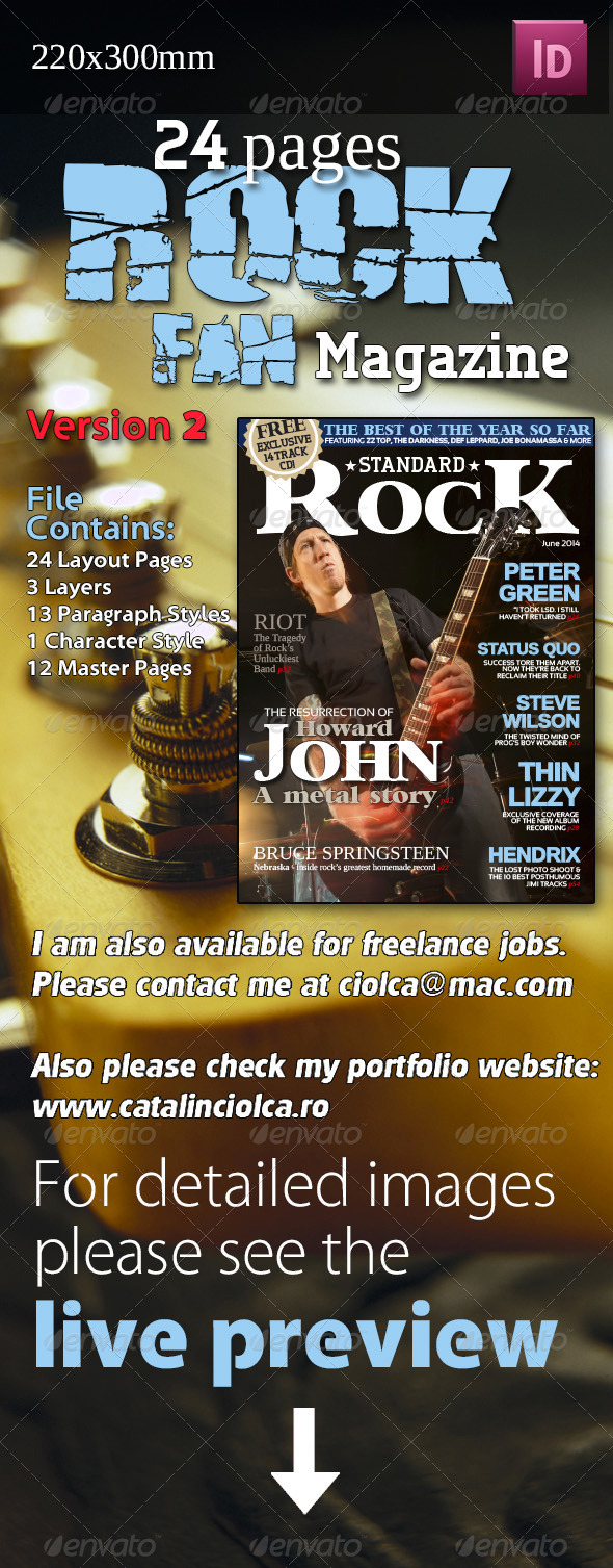 24 Pages Rock Fan Magazine Version Two - Magazines Print Templates