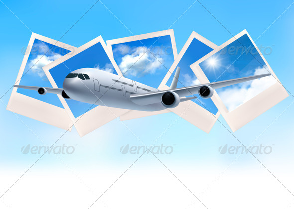 Airplane and SKy Photos Background - Travel Conceptual