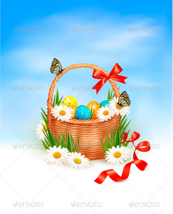 Holiday Easter Basket Background - Seasons/Holidays Conceptual