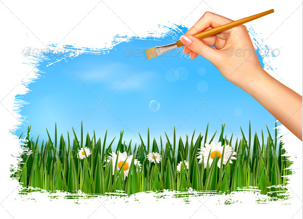 Nature Background with Hand Holding a Brush - Flowers & Plants Nature