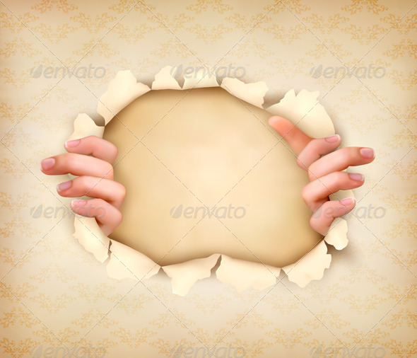 Hands Ripping Paper Background - Borders Decorative