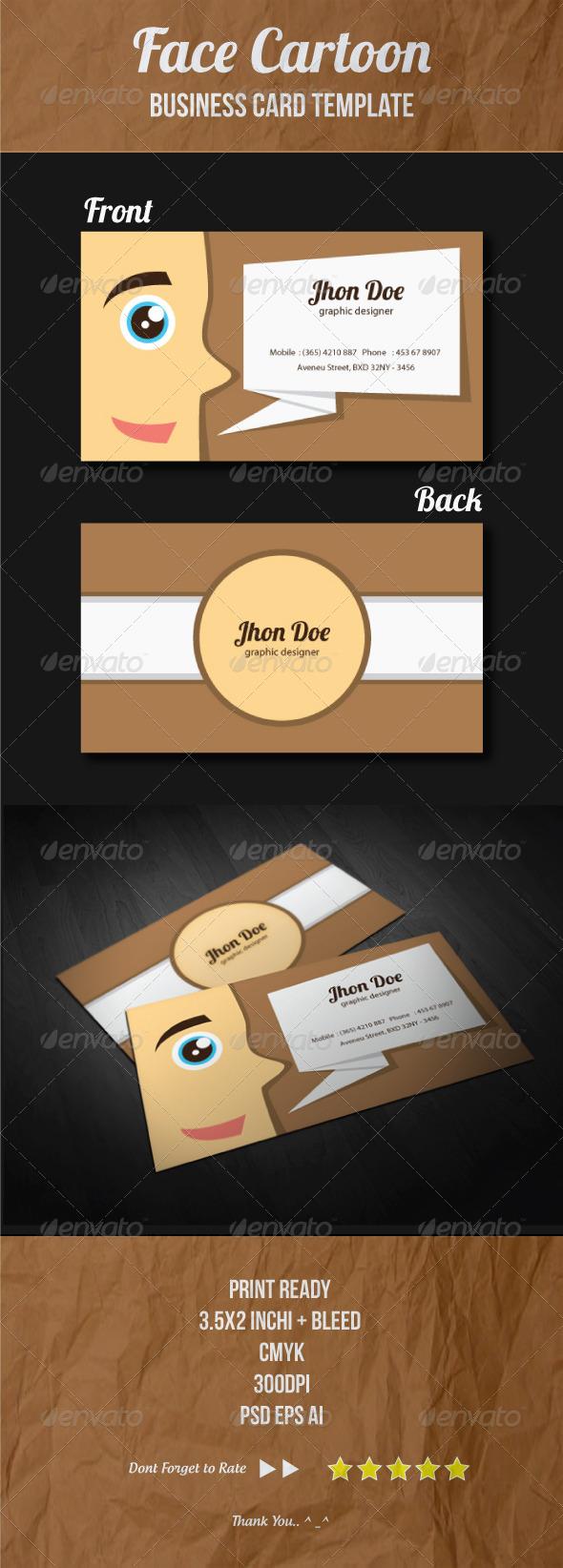 Face Cartoon Business Card Template - Creative Business Cards