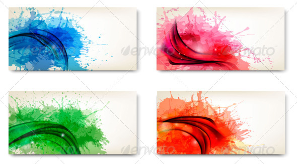 Set of Watercolor Abstract Banners - Backgrounds Decorative