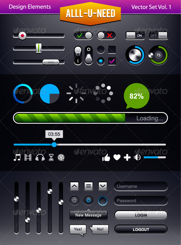 Set of User Interface Elements - Vectors