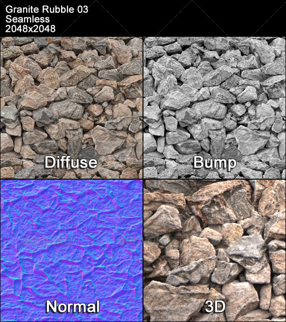 Granite Rubble Texture Tileable 03 - 3DOcean Item for Sale