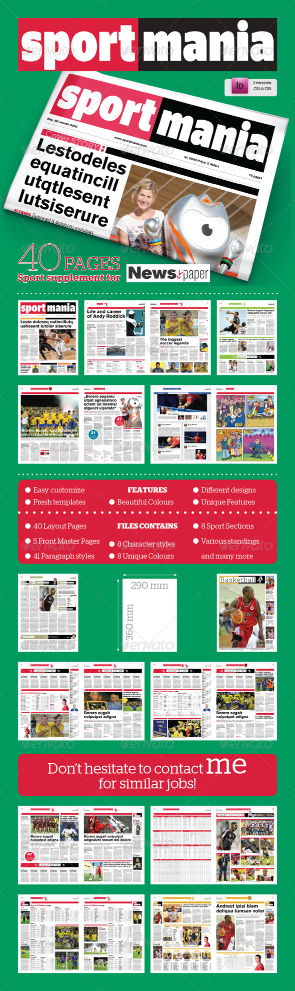 40 Pages Sport Supplement For Newspaper - Newsletters Print Templates