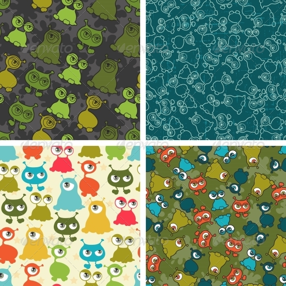 Abstract Seamless Patterns with Monsters. - Monsters Characters