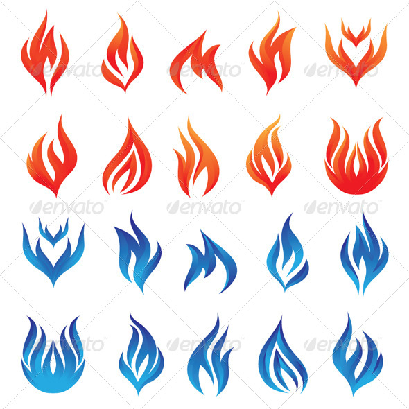 Fire Vector Set - Backgrounds Decorative