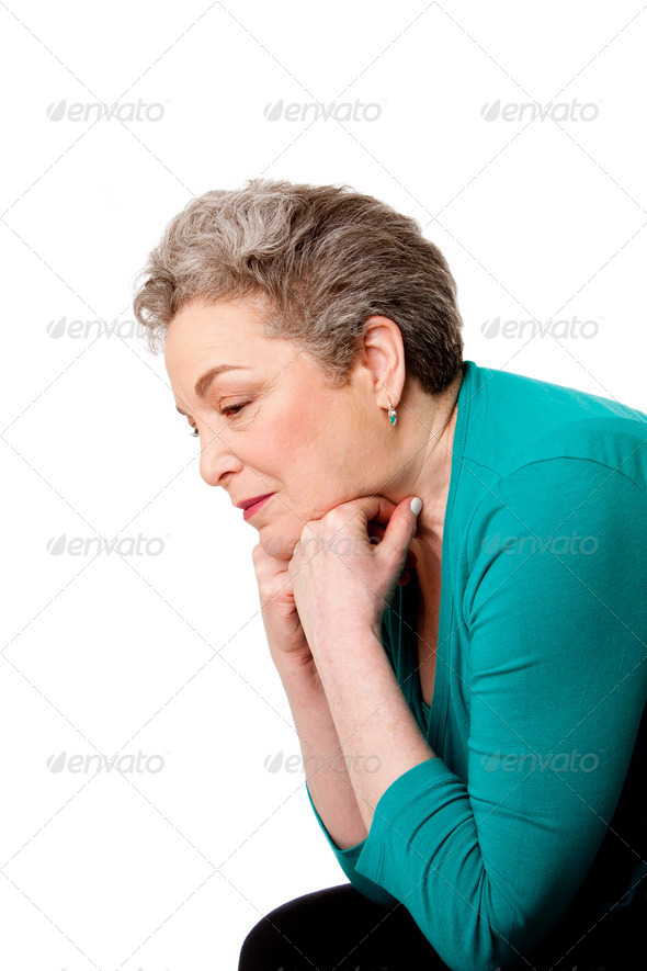Senior woman thinking of her future - Stock Photo - Images