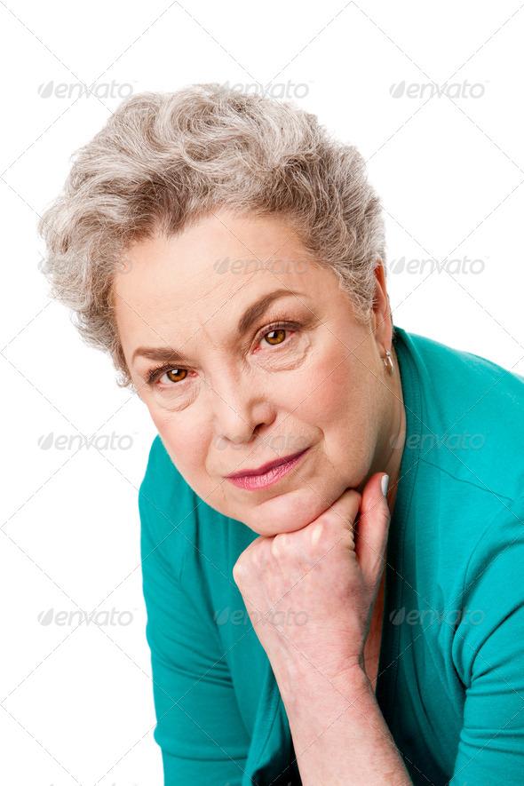 Portrait of Senior woman face - Stock Photo - Images