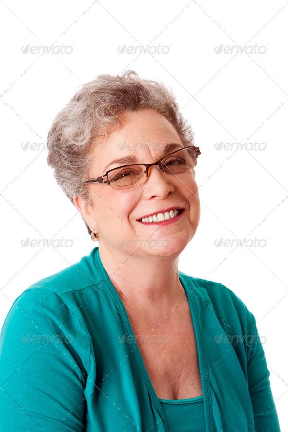 Beautiful Happy smiling senior woman face - Stock Photo - Images