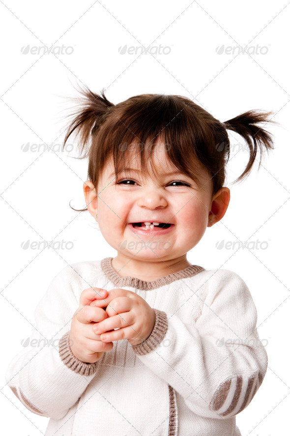 Happy laughing baby toddler girl - Stock Photo - Images
