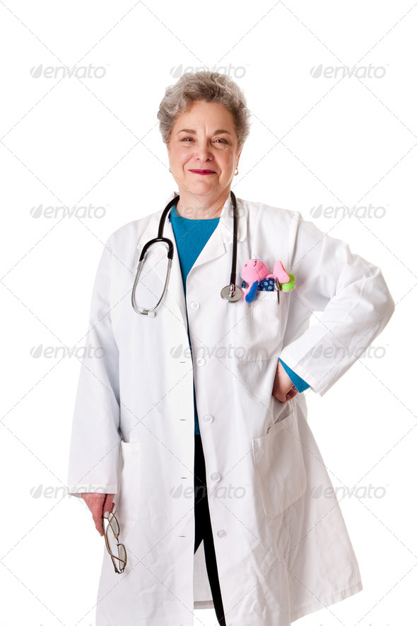 Happy smiling friendly pediatrician doctor nurse - Stock Photo - Images