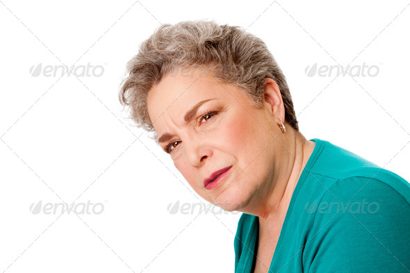 Confused senior woman - Stock Photo - Images