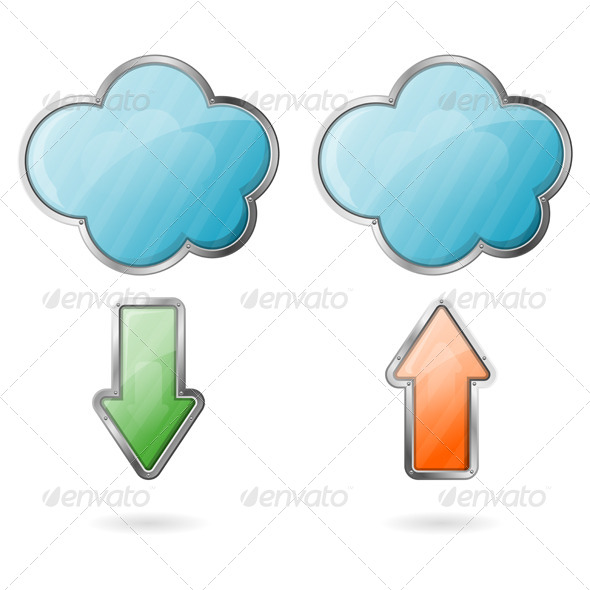 Upload and Download on Cloud Icon - Web Technology