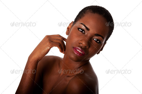 Beautiful face of African woman with good skin - Stock Photo - Images
