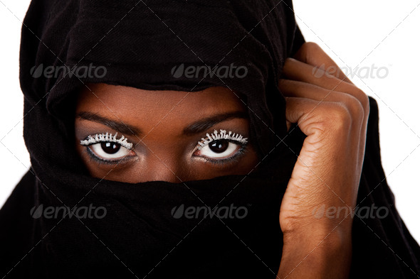 Female face in black scarf - Stock Photo - Images