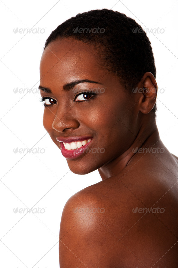 Happy smiling African woman, Beautiful teeth. - Stock Photo - Images