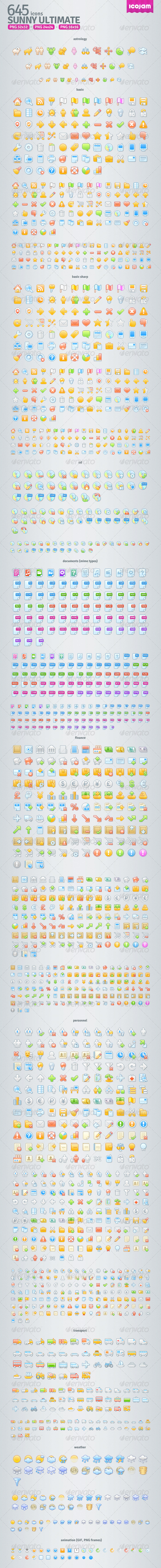 645 Sunny Raster Icons - Icons