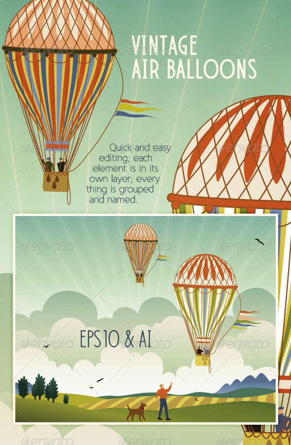 Vintage Hot Air Balloons Flying over Landscape - Objects Vectors