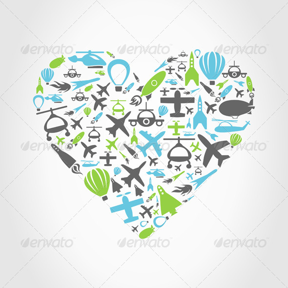 Aircraft Heart - Valentines Seasons/Holidays