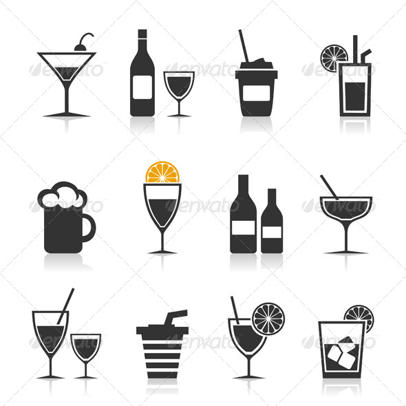 Alcohol Icon Set - Food Objects