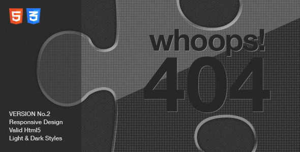 Custom 404 Error Page – Missing Jigsaw Piece