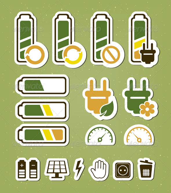Battery Recycling Icons Set - Concepts Business