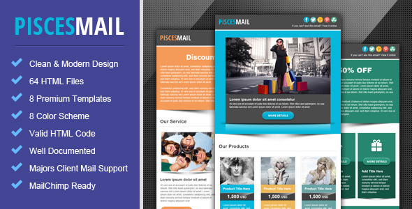Piscesmail Email Newsletter Template By Pophonic ThemeForest - Mailchimp psd template