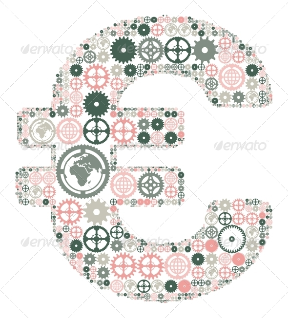Euro Sign Made of Colored Gears - Concepts Business