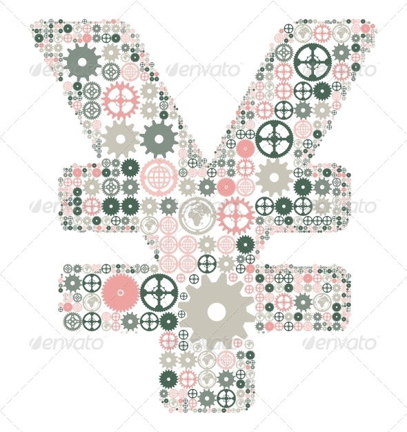 Japanese Yen Sign Made of Colored Gears - Concepts Business