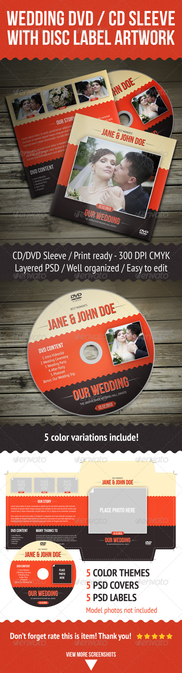 Wedding DVD / CD Sleeve With Disc Label - Packaging Print Templates