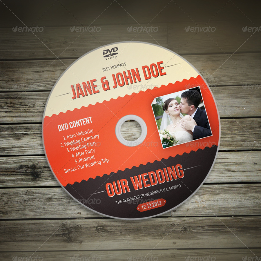 Wedding DVD / CD Sleeve With Disc Label by vinyljunkie | GraphicRiver