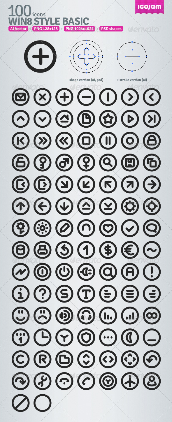 100 AI Win8 style icons - Icons